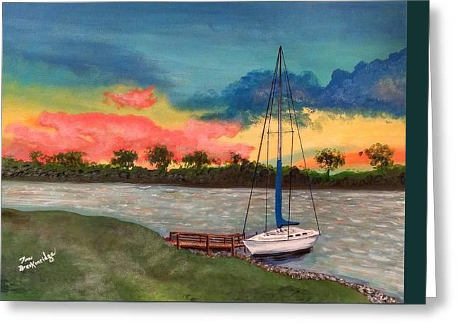 Blue Sailboats Greeting Cards - Sunset Greeting Card by Thomas Breckenridge