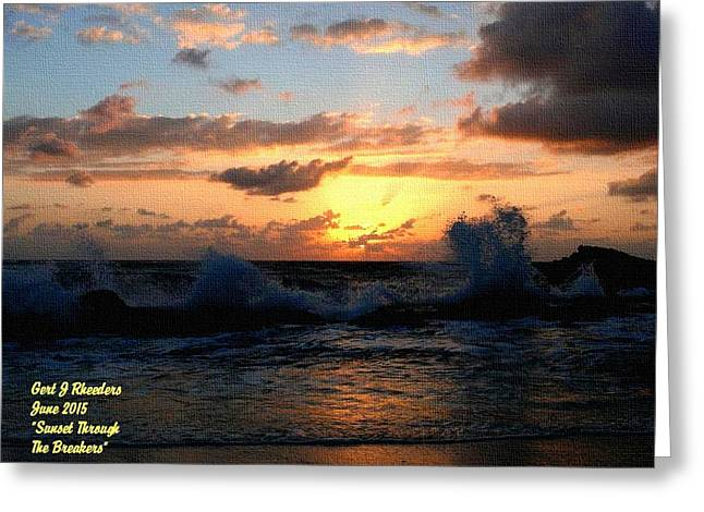 Abstract Digital Paintings Greeting Cards - Sunset through the Breakers H a Greeting Card by Gert J Rheeders