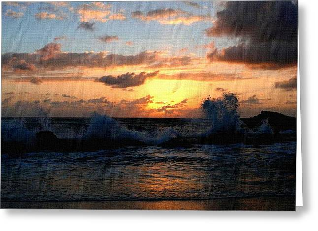 Abstract Digital Paintings Greeting Cards - Sunset Through the Breakers H b Greeting Card by Gert J Rheeders