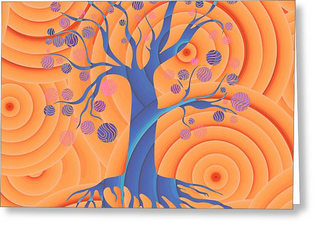 Sunset Tree Greeting Card by Frank Tschakert