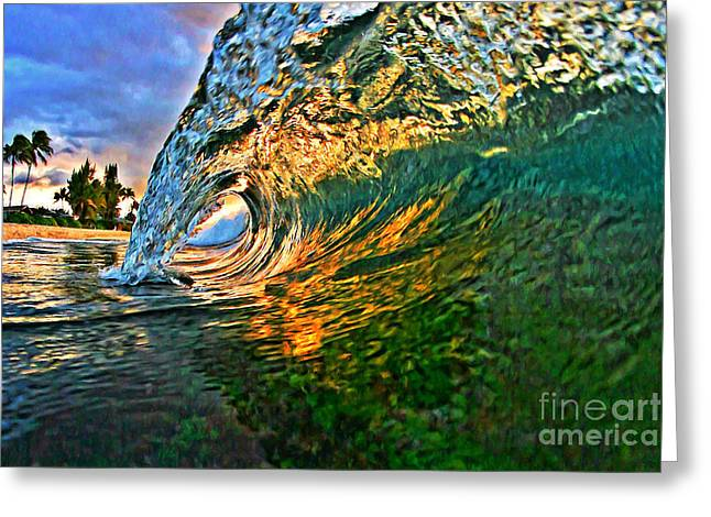 Laniakea Beach Greeting Cards - Sunset Tube Greeting Card by Paul Topp