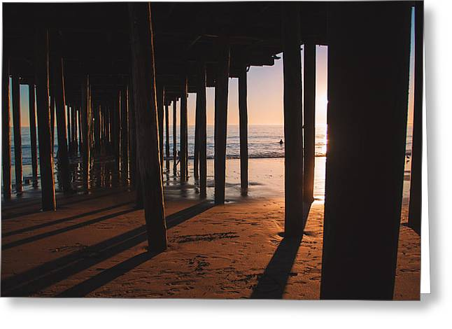 Surf Silhouette Greeting Cards - Sunset Under The Pier Greeting Card by Patryk Dziejma