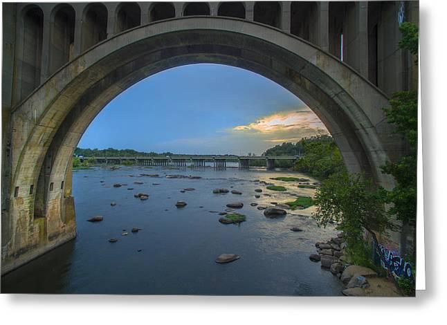 Canoe Greeting Cards - Sunset under the Train Bridge Greeting Card by Creative Dog Media