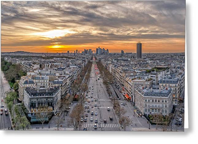 Residential Structure Greeting Cards - Sunset view to la Defence area in Paris Greeting Card by Valery Egorov