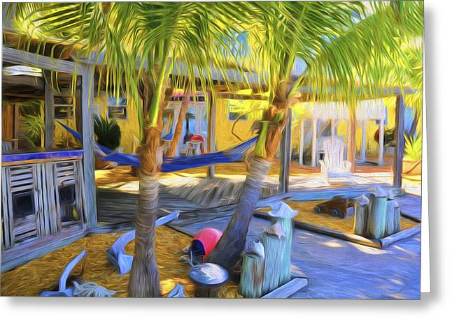 Sunset Villas Patio And Hammock Greeting Card by Ginger Wakem
