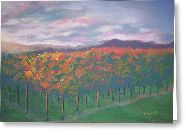 Napa Valley Vineyard Pastels Greeting Cards - Sunset Vineyard Greeting Card by Becky Chappell