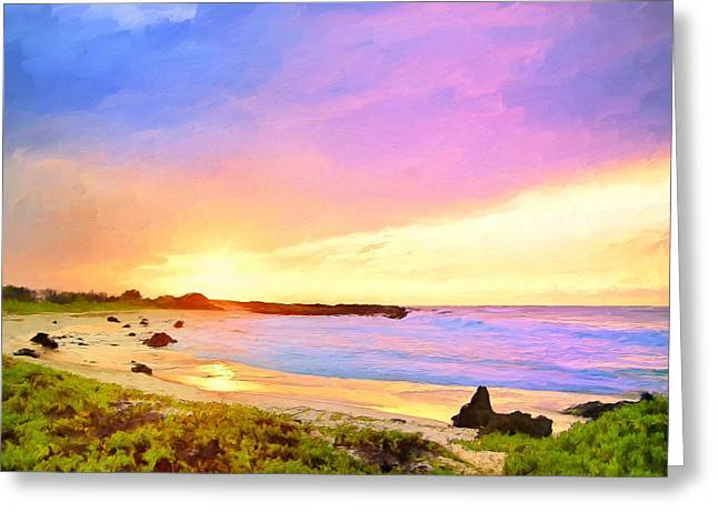 Lahaina Paintings Greeting Cards - Sunset Walk Greeting Card by Dominic Piperata