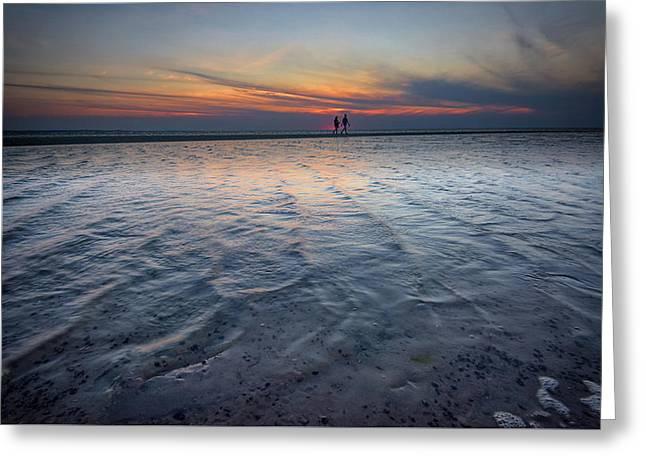 Sunset Walk On West Meadow Beach Greeting Card by Rick Berk
