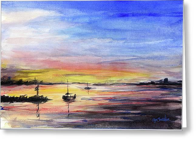 Sunset Watercolor Downtown Kirkland Greeting Card by Olga Shvartsur