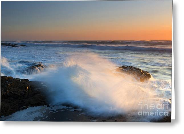 Sunset Wave Explosion Greeting Card by Mike Dawson