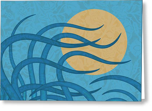 Sunset Waves Greeting Card by Frank Tschakert