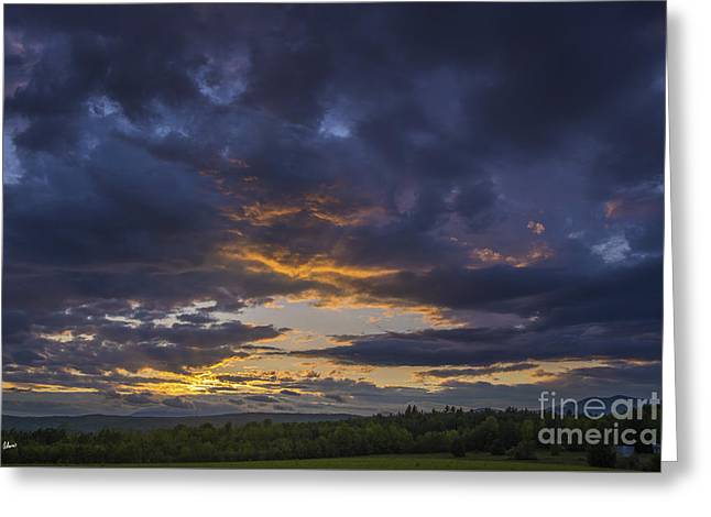 Award Greeting Cards - Sunset Western Maine Greeting Card by Alana Ranney