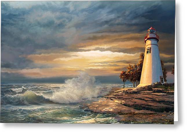 Sunset Greeting Cards Paintings Greeting Cards - Sunset with Ohio Marblehead Lighthouse Greeting Card by Gina Femrite