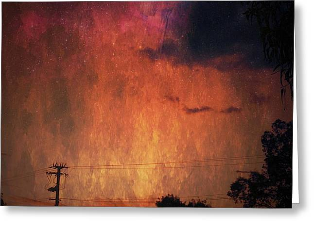 Sunset With Telegraph Pole Greeting Card by AlyZen Moonshadow