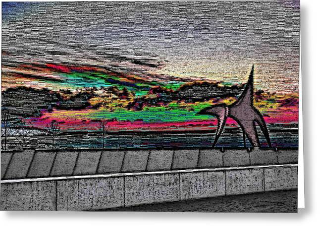 Sunset With The Eagle Greeting Card by Tim Allen