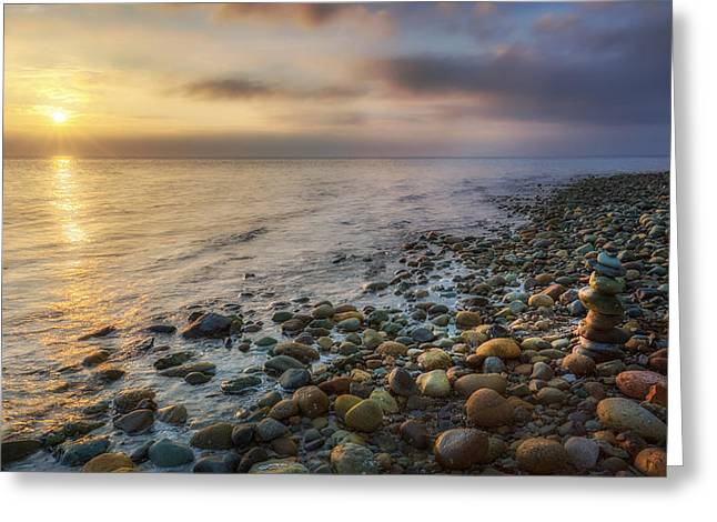 Foggy Beach Greeting Cards - Sunset Zen Greeting Card by Bill Wakeley