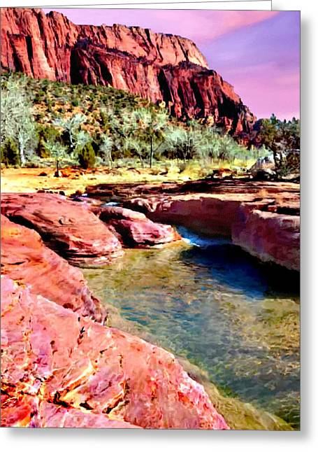 Mountain Valley Greeting Cards - Sunset Zion National Park Greeting Card by  Bob Johnston
