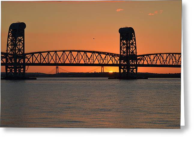 Sunset's Last Light Bridges Over Jamaica Bay Greeting Card by Maureen E Ritter