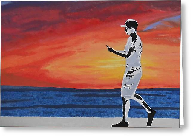 Cellphone Greeting Cards - Sunsets Lost to Screens Greeting Card by Nicki Yarwick