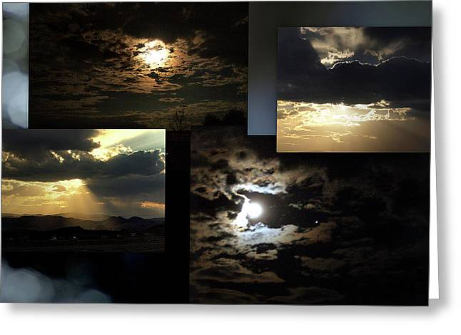 E-montage Greeting Cards - Sunsets Moons Rise Greeting Card by Irma BACKELANT GALLERIES