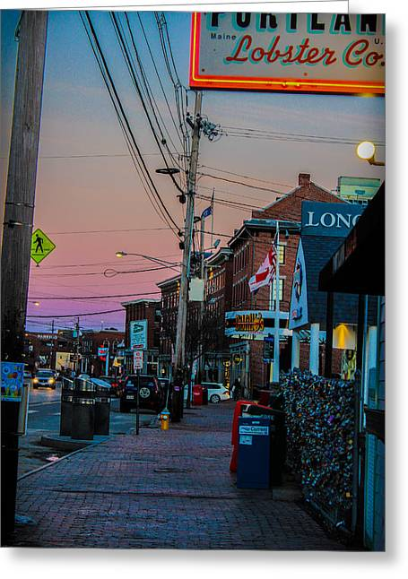Recently Sold -  - Coastal Maine Greeting Cards - Sunsetting Over the Old Port Greeting Card by Victory  Designs