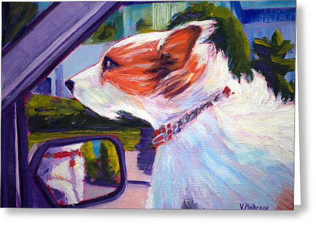 Doggies Greeting Cards - Sunshine and Wind in the Ears Greeting Card by Val Philbrook