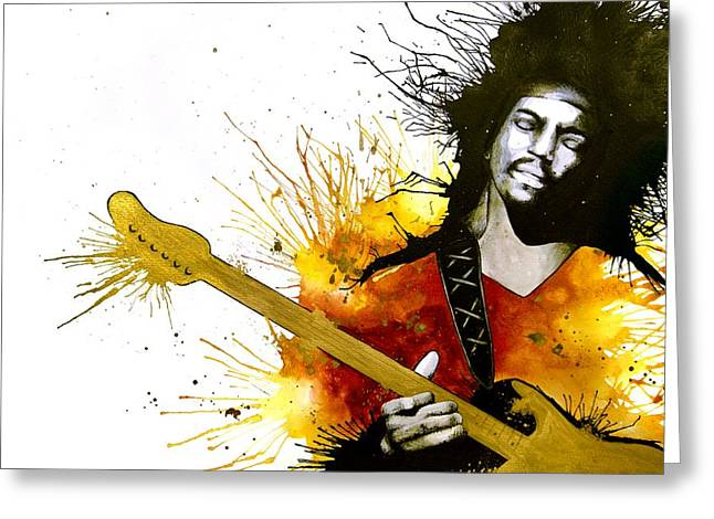 Jimi Hendrix Drawings Greeting Cards - Sunshine Of Your Love Greeting Card by Amber Bambler Keller