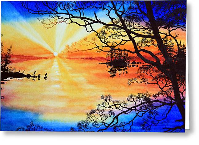 Sunset Prints Greeting Cards - Sunshine On My Shoulders Greeting Card by Hanne Lore Koehler