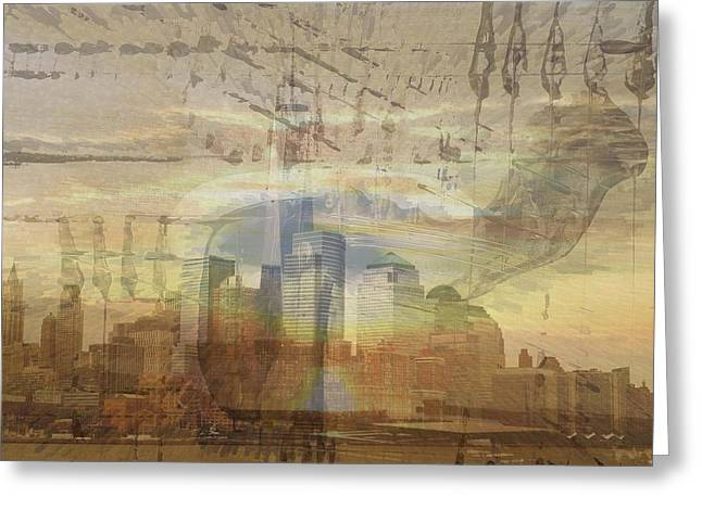 The Horse Greeting Cards - Sunshine over Manhattan Greeting Card by Vincent Messelier