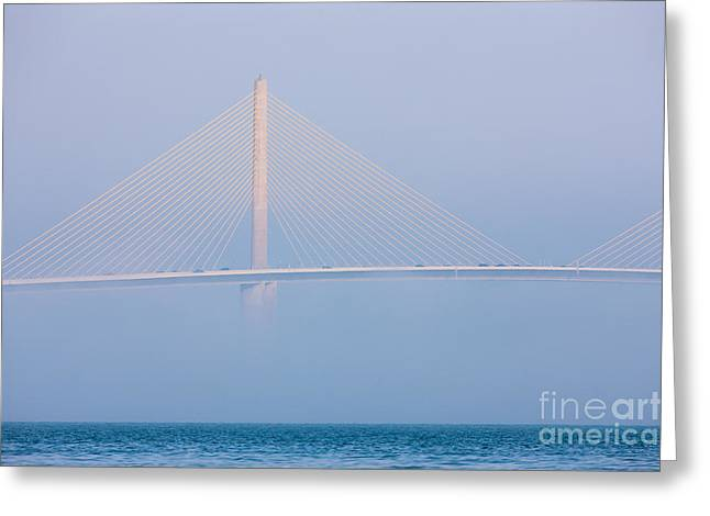 St Petersburg Florida Greeting Cards - Sunshine Skyway Bridge in Fog I Greeting Card by Clarence Holmes