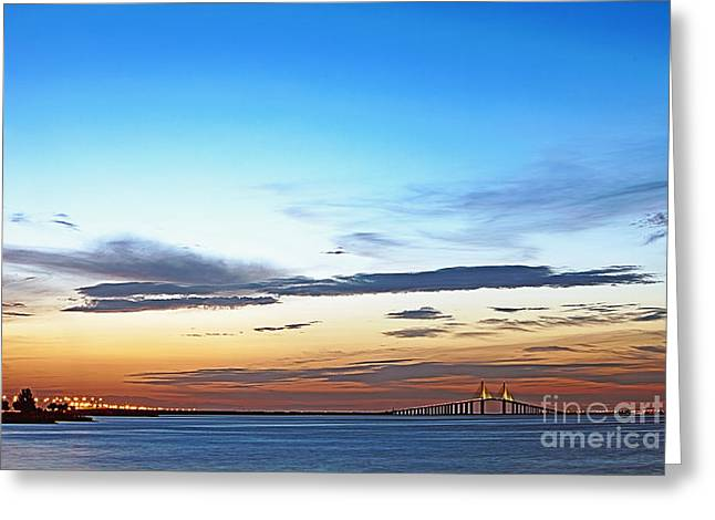 St Petersburg Florida Greeting Cards - Sunshine Skyway Bridge Greeting Card by Skip Nall