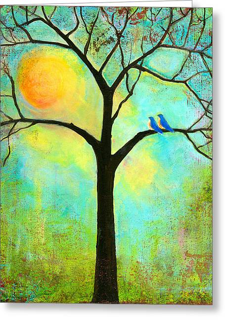 Uplifted Greeting Cards - Sunshine Tree Greeting Card by Blenda Studio