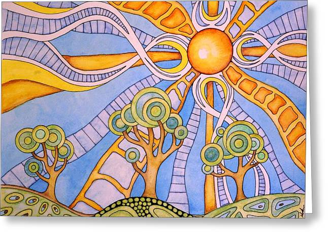Sun Rays Paintings Greeting Cards - Suntree Hill Greeting Card by WIlliam Gushue