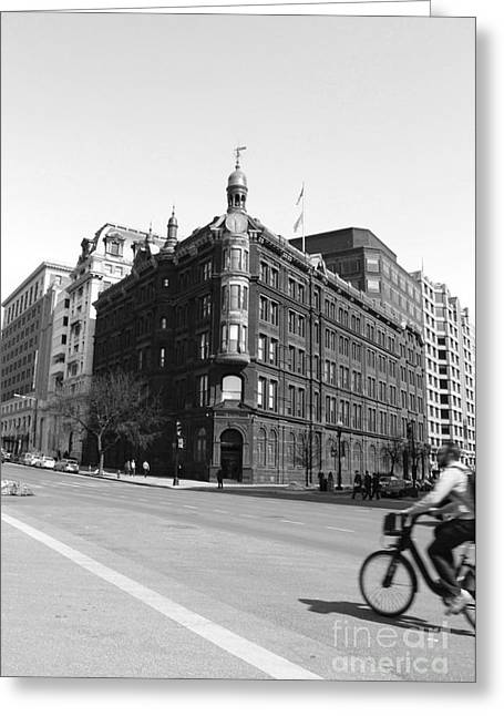 Streetlight Greeting Cards - SunTrust Building and Bicyclist Black and White Greeting Card by Marina McLain