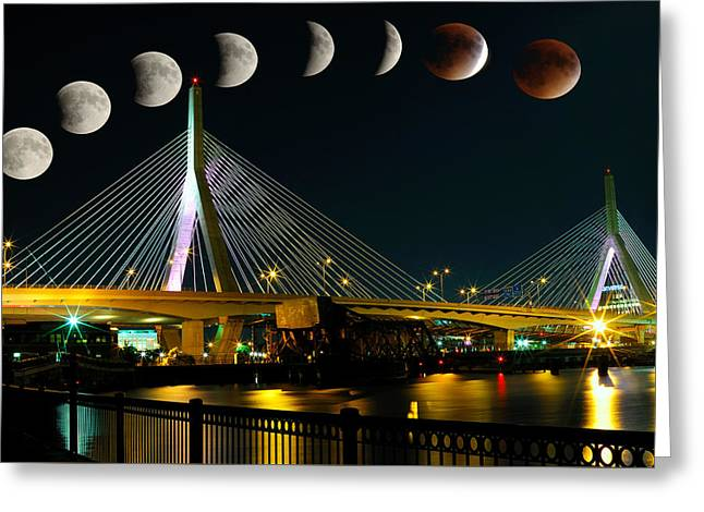 Boston Ma Greeting Cards - Super Blood Moon-Boston, MA Greeting Card by Soon Ming Tsang