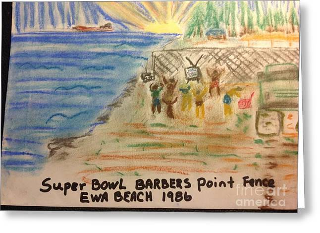 Pro Football Drawings Greeting Cards - Super Bowl Ewa Beach Greeting Card by Willard Hashimoto