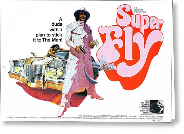 Super Fly Lobby Promotion  1972 Greeting Card by Daniel Hagerman