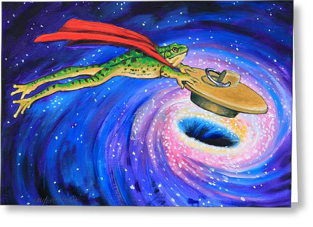 Super Frog Plugging A Black Hole Greeting Card by John Lautermilch