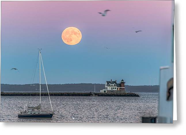 Recently Sold -  - Maine Lighthouses Greeting Cards - Super Harvest Moon Over Rockland Breakwater Greeting Card by Tim Sullivan