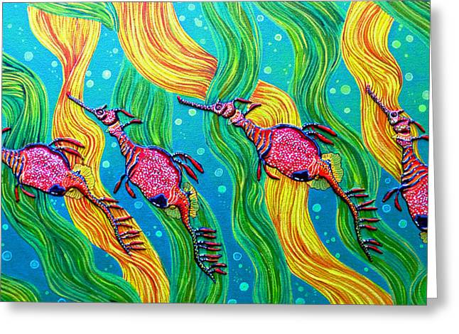 Sea Horse Greeting Cards - Super Late For Supper Greeting Card by Debbie Chamberlin