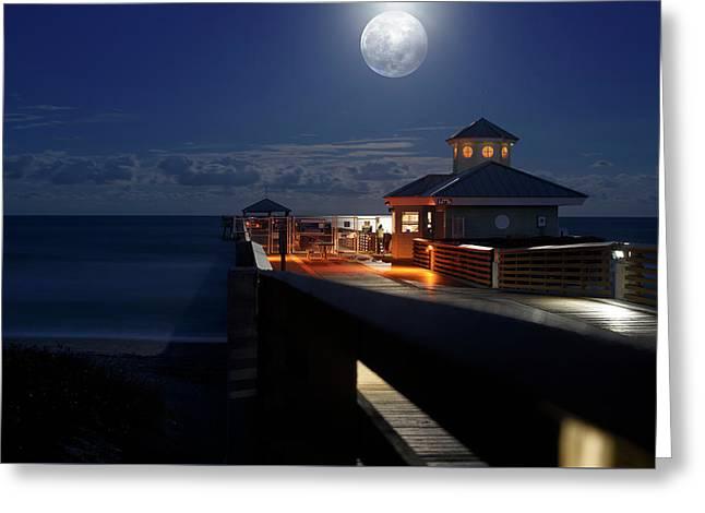 Super Moon At Juno Pier Greeting Card by Laura Fasulo