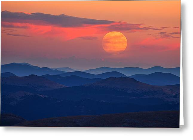 Super Moon At Sunrise Greeting Card by Darren White