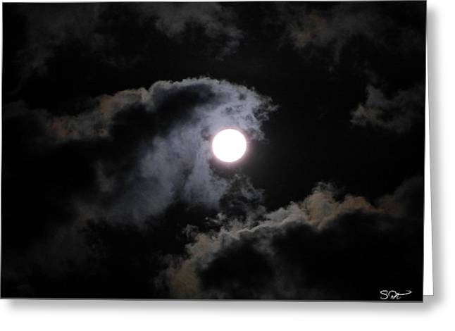 Super Stars Greeting Cards - Super Moon held in the Arc of clouds Greeting Card by Stephen  Killeen