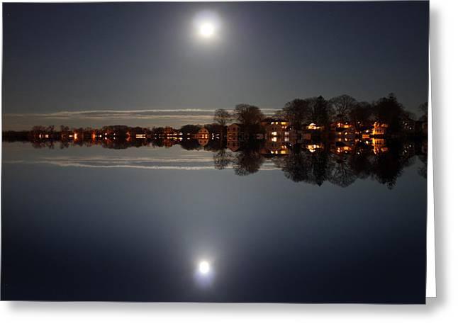 super moon night   Connecticut  Greeting Card by Mark Ashkenazi