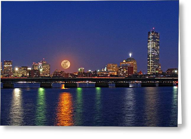 Center Greeting Cards - Super Moon over Boston Greeting Card by Juergen Roth