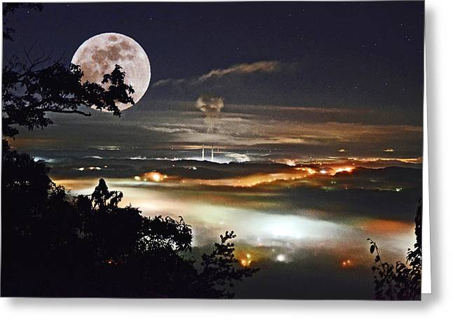 Super Stars Greeting Cards - Super Moon Over Harriman Greeting Card by Paul Mashburn