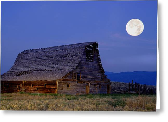 Exposure Greeting Cards - Super Moon over Historic Swopes Barn Greeting Card by Larry Kjorvestad