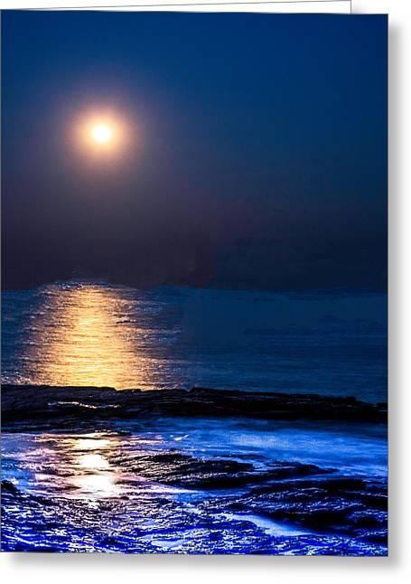 Sea Moon Full Moon Greeting Cards - Super Moon over Narraganset Bay Greeting Card by Raymond J Deuso