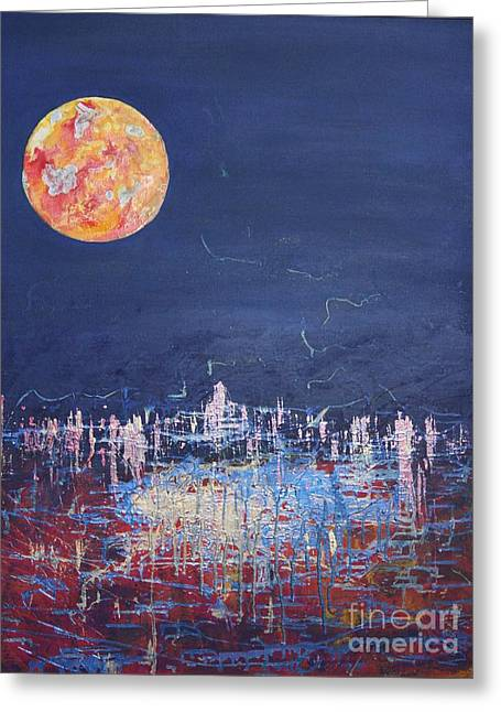 Sea Moon Full Moon Greeting Cards - Super Moon over The City Greeting Card by Karen Vaillancourt