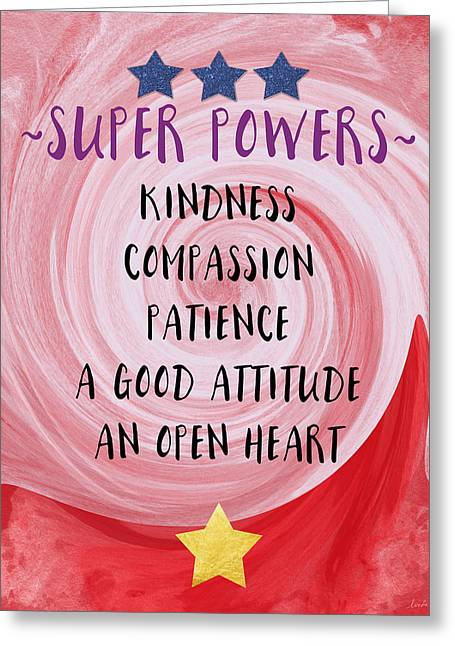 Anti Mixed Media Greeting Cards - Super Powers- Inspirational Art by Linda Woods Greeting Card by Linda Woods